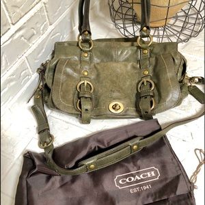 Stunning Rare olive green AUTH. Coach bag